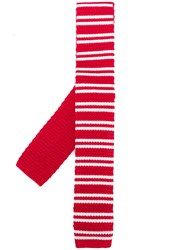 Church's Striped Skinny Scarf Red