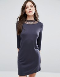 Vila 3 4 Sleeve Dress With Lace Neckline Ebony Black