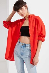 Urban Outfitters Uo Gracie Oversized Linen Button Down Shirt Bright Red