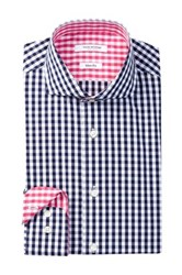 Isaac Mizrahi Long Sleeve Slim Fit Medium Check Dress Shirt Blue