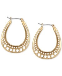 T Tahari Gold Tone Cutout Hoop Earrings
