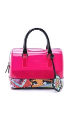 Furla Graffiti Candy Cookie Mini Satchel Hot Pink