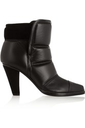 Chloe Padded Leather Ankle Boots Black