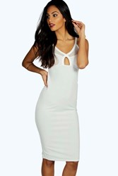Boohoo Mesh Cut Out Detail Midi Dress Ivory