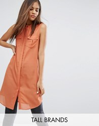 Vero Moda Tall Shirt Dress With Utility Pockets Brown
