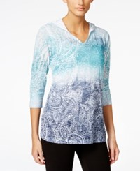 Styleandco. Style And Co. Petite Paisley Print Pullover Hoodie Only At Macy's Pacfic Aqua