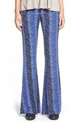 Hip Junior Women's H.I.P. Mixed Print Flare Leg Pants Blue Print