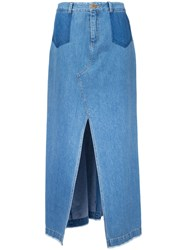 Sea Front Slit Maxi Skirt Women Cotton 8 Blue