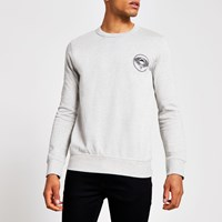 River Island Selected Homme Grey Printed Sweatshirt