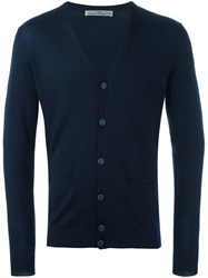 Daniele Alessandrini Grey V Neck Button Down Cardigan Blue