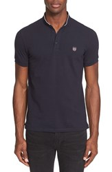 Men's The Kooples Pipe Trim Band Collar Polo Navy