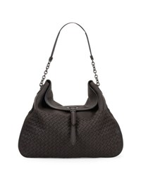 Bottega Veneta Intrecciato Cervo Flap Top Hobo Bag Espresso