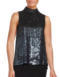 French Connection Starlight Sleeveless Sequined Blouse Gunmetal