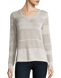 Democracy Open Knit Striped Sweater Champagne