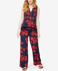 A Pea In The Pod Maternity Wide Leg Printed Pants Navy Red Floral