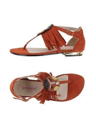 Mysuelly Toe Strap Sandals Rust
