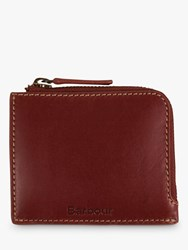 Barbour Hadleigh Leather Zip Up Coin Wallet Brown