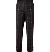 Gucci Cropped Embroidered Checked Wool Twill Trousers Green