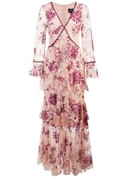 Marchesa Notte Plunge Neck Flocked Lace Gown Pink And Purple