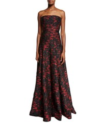 Carmen Marc Valvo Strapless Floral Brocade Ball Gown Black Red Black Red