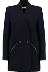 Iro Carey Wool Blend Twill Coat Navy