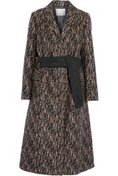 3.1 Phillip Lim Slim Printed Wool Blend Coat Black