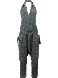 Lost And Found Ria Dunn Drop Crotch Halter Neck Jumpsuit Grey