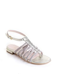 Taryn Rose Italia Leather Sandals Soft Gold