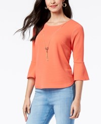 Thalia Sodi Textured Bell Sleeve Necklace Top Created For Macy's Deep Sea Coral