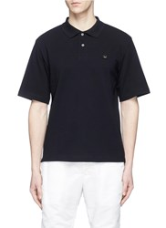 Acne Studios 'Falco Face' Emoticon Embroidered Patch Polo Shirt Blue