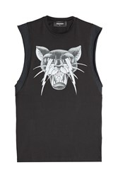 Dsquared2 Printed Cotton Sleeveless Top