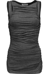 Bailey 44 Parvati Ruched Stretch Jersey Top Dark Gray