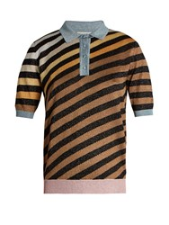 Marco De Vincenzo Diagonal Striped Polo Shirt Blue Multi