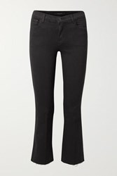 J Brand Selena Frayed Cropped Mid Rise Bootcut Jeans Black