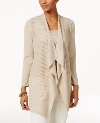 Jm Collection Petite Shadow Striped Draped Cardigan Only At Macy's Stone