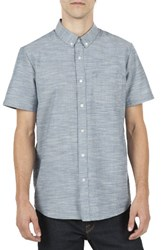 Volcom Men's Slub Oxford Shirt Blue Smoke