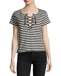 Mother The Up Crop Goodie Goodie Striped Tee Black White Multi