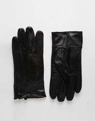 Peter Werth Button Leather Gloves Black