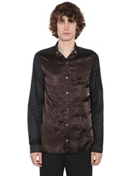 Rick Owens Cupro And Techno Shirt Brown