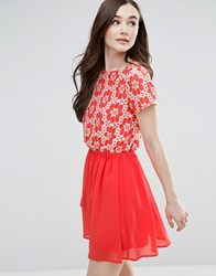 Pussycat London Skater Dress With Floral Top And Chiffon Skirt Coral Pink