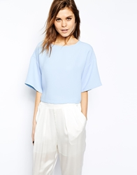 Asos Crop Top With Boxy Kimono Sleeve Blue