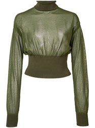 Balmain Sheer Cropped Jumper Women Cotton Polyamide Spandex Elastane Viscose 36 Green
