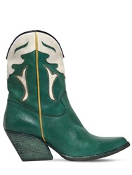 Elena Iachi 60Mm Two Tone Leather Cowboy Boots Green White