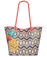 Vera Bradley Medium Beach Tote Navy Natural Chevron Straw