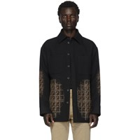 Fendi Black Wool Ff Degrade Blur Jacket