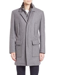 Cole Haan Faux Fur Trimmed Wool Blend Coat