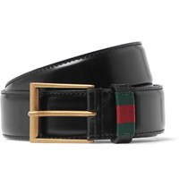 Gucci 3.5Cm Black Webbing Trimmed Patent Leather Belt Black