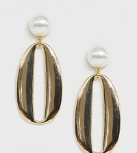 Glamorous Pearl And Gold Statement Drop Earrings