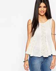 Hazel Lace Panel Shell Top Ivory
