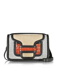 Pierre Hardy Alpha Multicolor Croco Embossed Patent Leather Crossbody Clutch Black